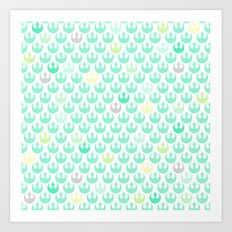 Rebel Alliance on White in Green and Yellow Pastels Art Print