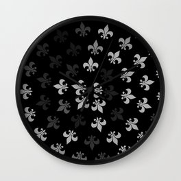 Black and White Fleur-Di-Lis Wall Clock