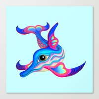 dolphin Canvas Prints featuring dolphin by giol's