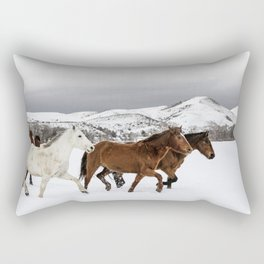 A mixed herd of wild and domesticated horses frolics on the Ladder Livestock ranch at the Wyoming-Colorado border Rectangular Pillow