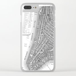 Vintage Map of Lower New York City (1807) BW Clear iPhone Case