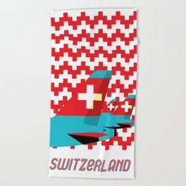Switzerland by Air Beach Towel