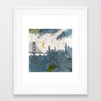 san francisco map Framed Art Prints featuring San Francisco skyline old map by Paula Belle Flores