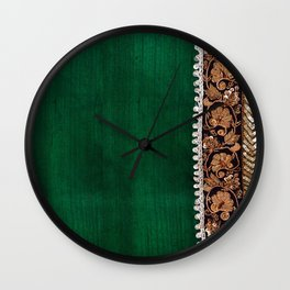-A11- Tradtional Textile Moroccan Green Artwork. Wall Clock