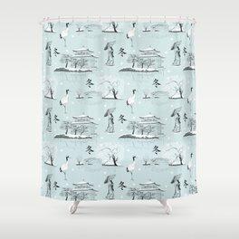 Japanese Toile Shower Curtain