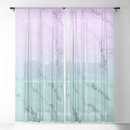 Unicorn Mermaid Girls Glitter Marble #1 #decor #art #society6 Sheer Curtain