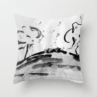 running Throw Pillows featuring Running by Som Somni