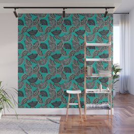 Fans on teal scattered Wall Mural