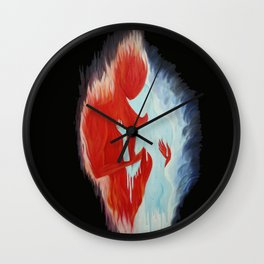 flame man ice woman Wall Clock