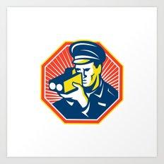 Policeman Police Officer Speed Camera Radar Art Print