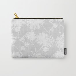 White Floral Poms Carry-All Pouch