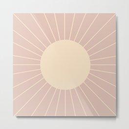 Minimal Sunrays - Neutral Pink Metal Print