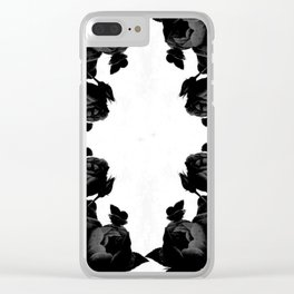 Black Floral Clear iPhone Case