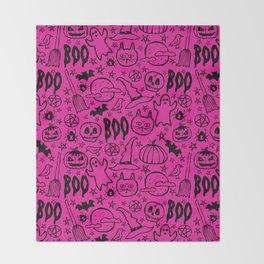 Spooky Pattern - Hot Pink Throw Blanket