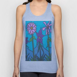 Blue Mountain Flowers Unisex Tank Top