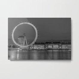 London Eye Black and White Metal Print