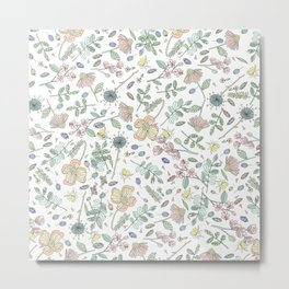 Country Flowers - White Blanco Metal Print