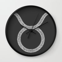 taurus Wall Clocks featuring Taurus by David Zydd - Colorful Mandalas & Abstrac