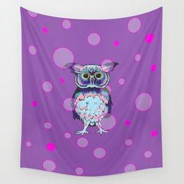 Owl Purple Bubbles Wall Tapestry
