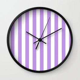 Narrow Vertical Stripes - White and Light Violet Wall Clock