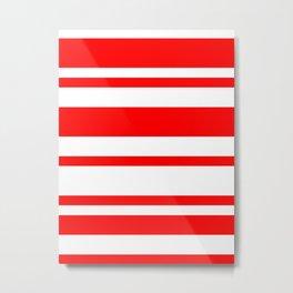 Mixed Horizontal Stripes - White and Red Metal Print