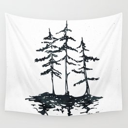 THE THREE SISTERS Black and White Wall Tapestry
