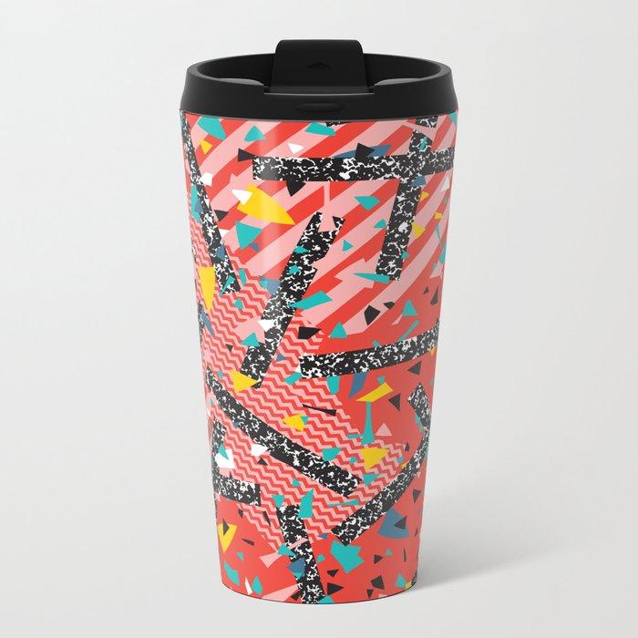 Modern Memphis Milan Inspired Primary Color Geometric Stripe Design Red Confetti 80s Party Metal Travel Mug