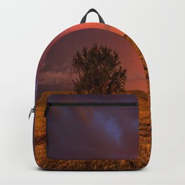 Fire Within - Red Sky and Rainbow Over Lone Tree on Great Plains Backpack