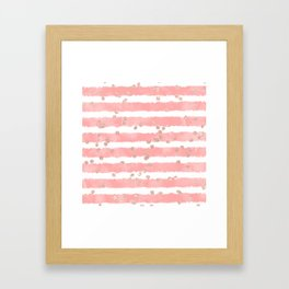 Rose gold confetti pink blush watercolor stripes modern chic pattern Framed Art Print