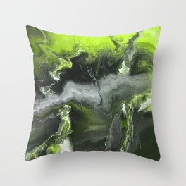 Lime Green Lightning Throw Pillow