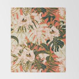 Flowering tropical coral bloom Throw Blanket