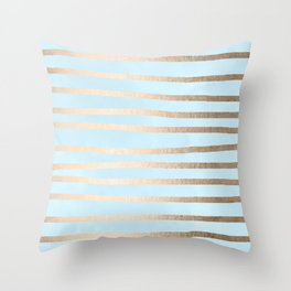 Abstract Drawn Stripes Gold Tropical Ocean Sea Turquoise Throw Pillow