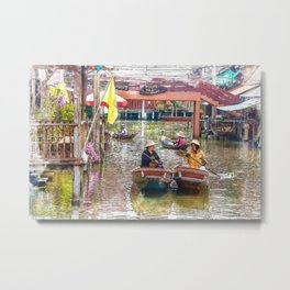 Vendors in boats at the floating market. The market is a very popular tourist destination. Metal Print