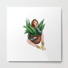 Girl with plant Metal Print