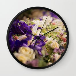 Bouquet of flowers, violets Wall Clock
