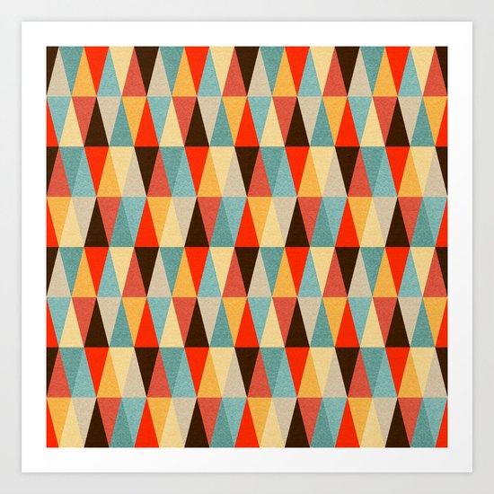 Red & Brown Geometric Triangle Pattern Art Print