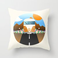 van Throw Pillows featuring Love Van by Moremo