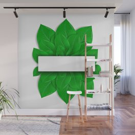 Green leaves with banner Wall Mural