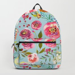 pink and blue watercolor peonies Backpack