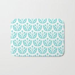 Mid Century Modern Flower Pattern 731 Turquoise Bath Mat