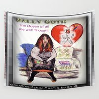 pastel goth Wall Tapestries featuring SALLY GOTH by KEVIN CURTIS BARR'S ART OF FAMOUS FACES
