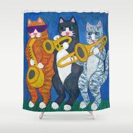 Salsa Cats Brass Section Shower Curtain