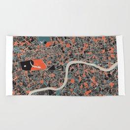 London Multicoloured Print Beach Towel