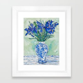 Iris Bouquet in Chinoiserie Vase on Blue and White Striped Tablecloth on Painterly Mint Green Framed Art Print