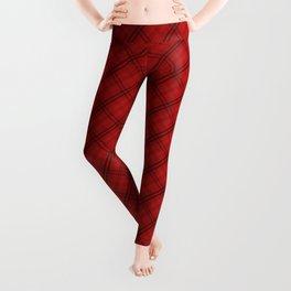 Blood Red and Black Halloween Tartan Check Plaid Leggings