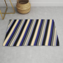 Vibrant Dark Grey, Midnight Blue, Black, Dim Gray, and Beige Colored Pattern of Stripes Rug