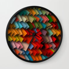 colorful rectangles with shadows Wall Clock