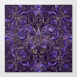 Pentagram Ornament Butterfly and Triskele Canvas Print