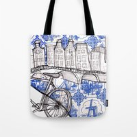 amsterdam Tote Bags featuring Amsterdam by crocomila