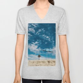 Three Palms | Calm California Beach Umbrella Scene Clouds Salty Air Art Print Tapestry Unisex V-Neck
